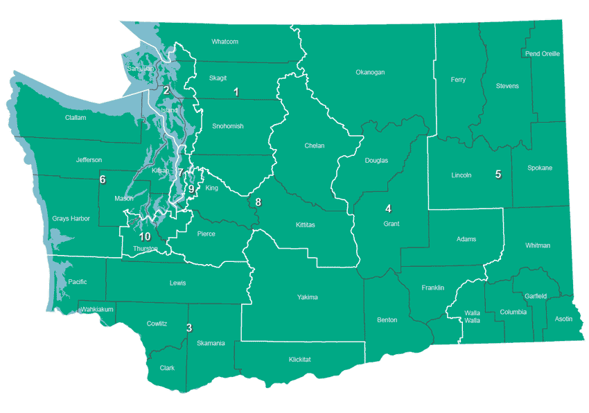 8th Congressional District Washington Map.August 7 2018 Primary Federal Representatives